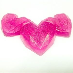 3 gemstone heart soaps with aloe, Valentine's Day
